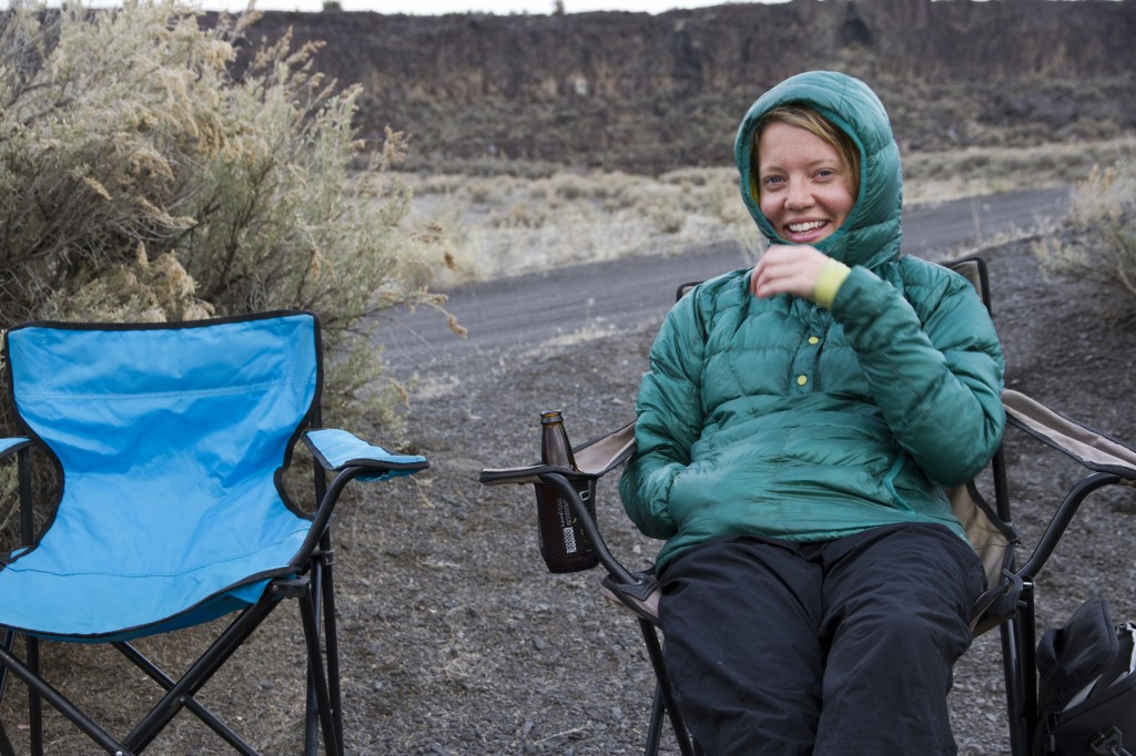 Robyn can't believe how good a camp chair and some Terminal Gravity IPA can be after putting in 13 pitches.