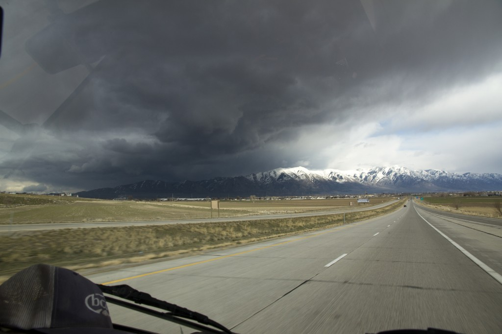 A dramatic sky on our way to Salt Lake City.