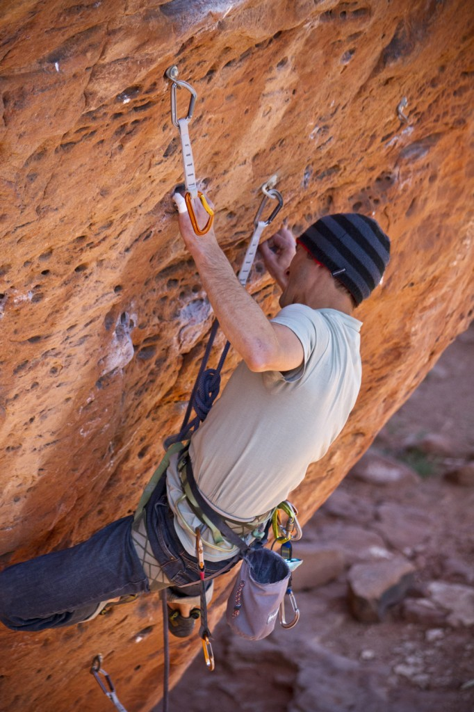 Hard crimpin' on the initial crux of The Actual Parchments (5.13a).