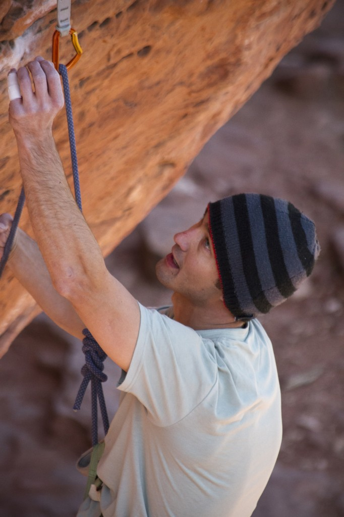 Jeremy sussing beta on The Actual Parchments (5.13a).