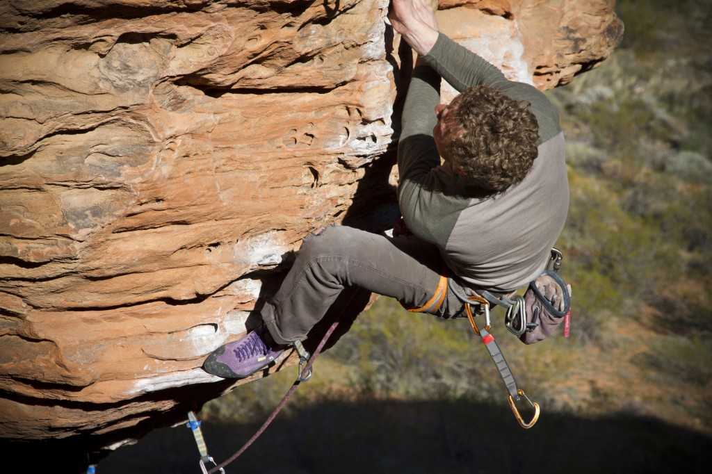 Ben sending Banana Dance (5.11d) at the Turtle Wall, St. George, Utah.