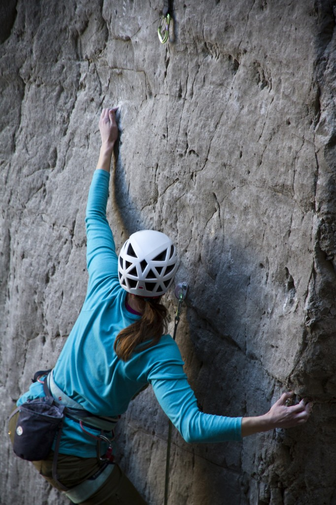 Dana starting up the Unknown 5.12a/b at The Grail. Fun and bouldery beta mark the first 3 bolts of this gem.