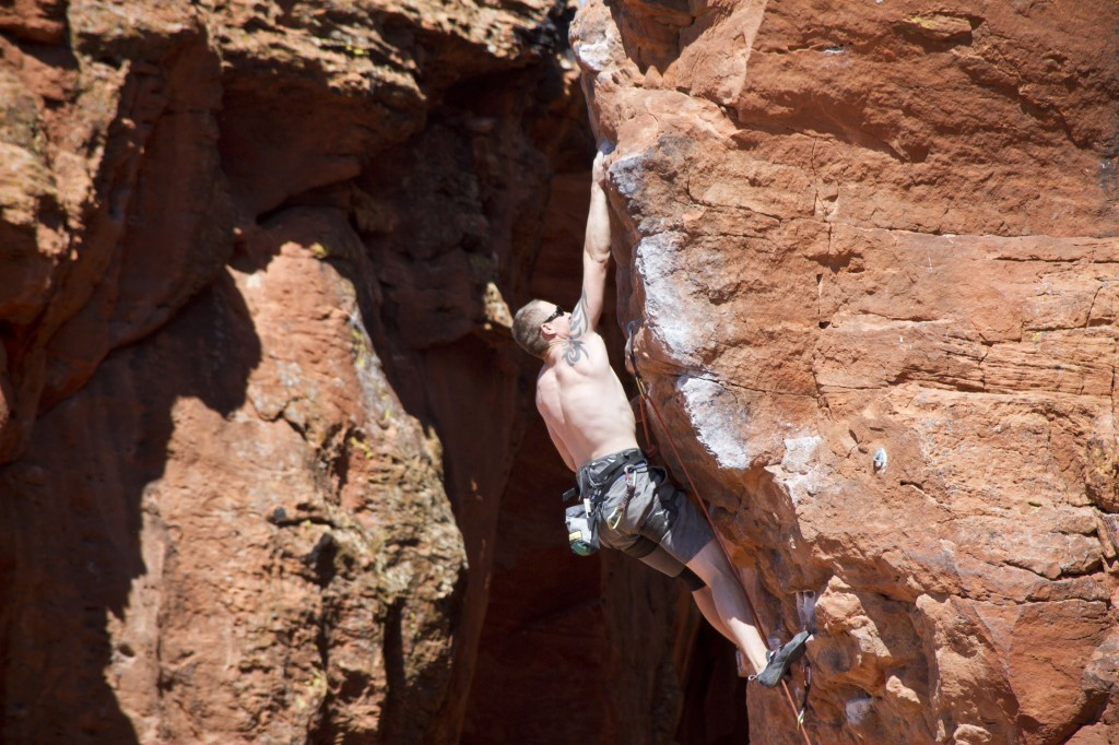 Steve on the red point crux of Second Coming (5.12a) at Chuckawalla Wall just on the outskirts of St. George, Utah.