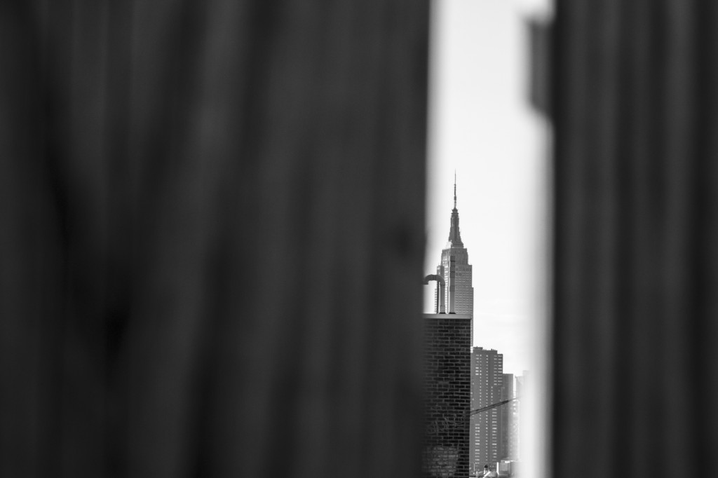 Peaking through the fence at the big apple.