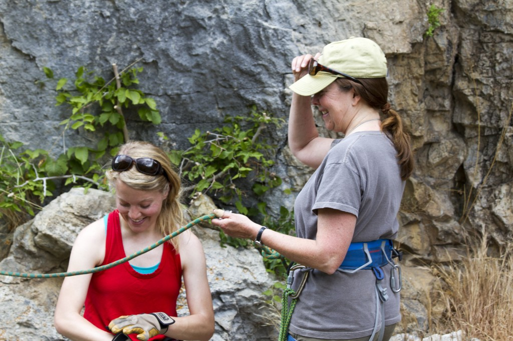 Mom and Robyn talking details before my mom tossed her fear of heights to the wayside and got on her first rock climb ever!