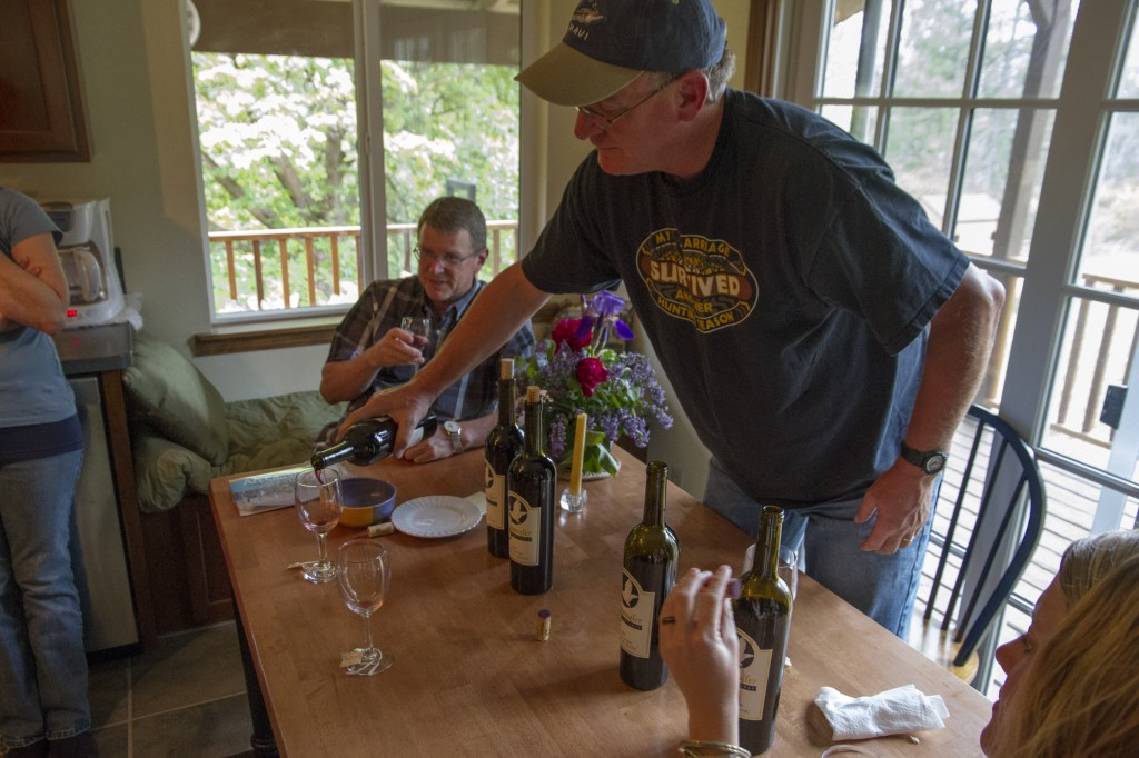 Tony treating us to a vertical of wines from his area in Southern Oregon.