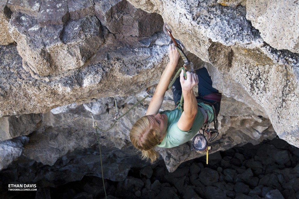 "Robyn on ""The Warm-Up"" (5.10d) at the Lava Tubes"