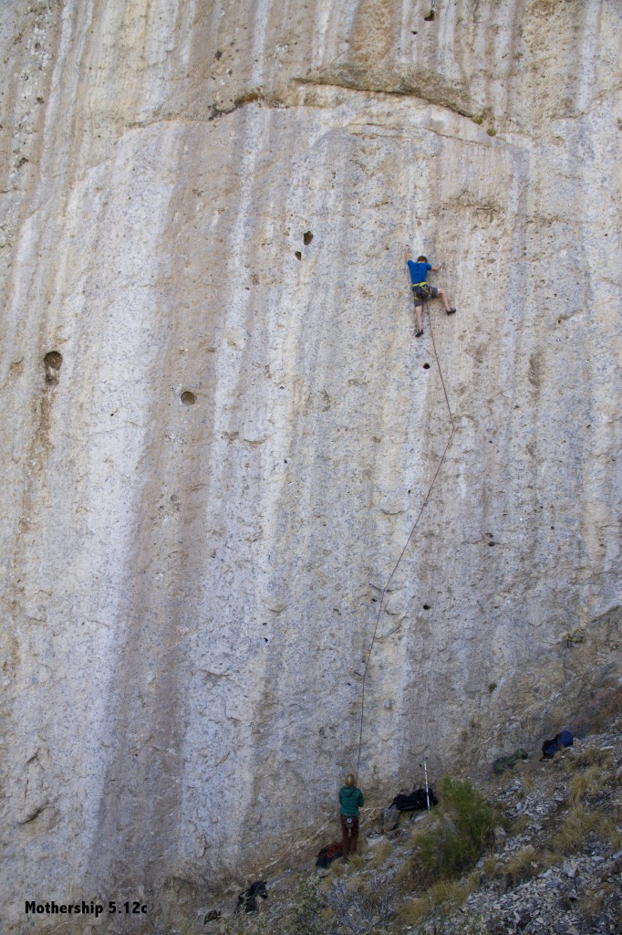 Ben on Mothership (5.12c). There is a mandatory pinky mono on this route. Don't ask me I haven't tried it... Looks wicked hard though!