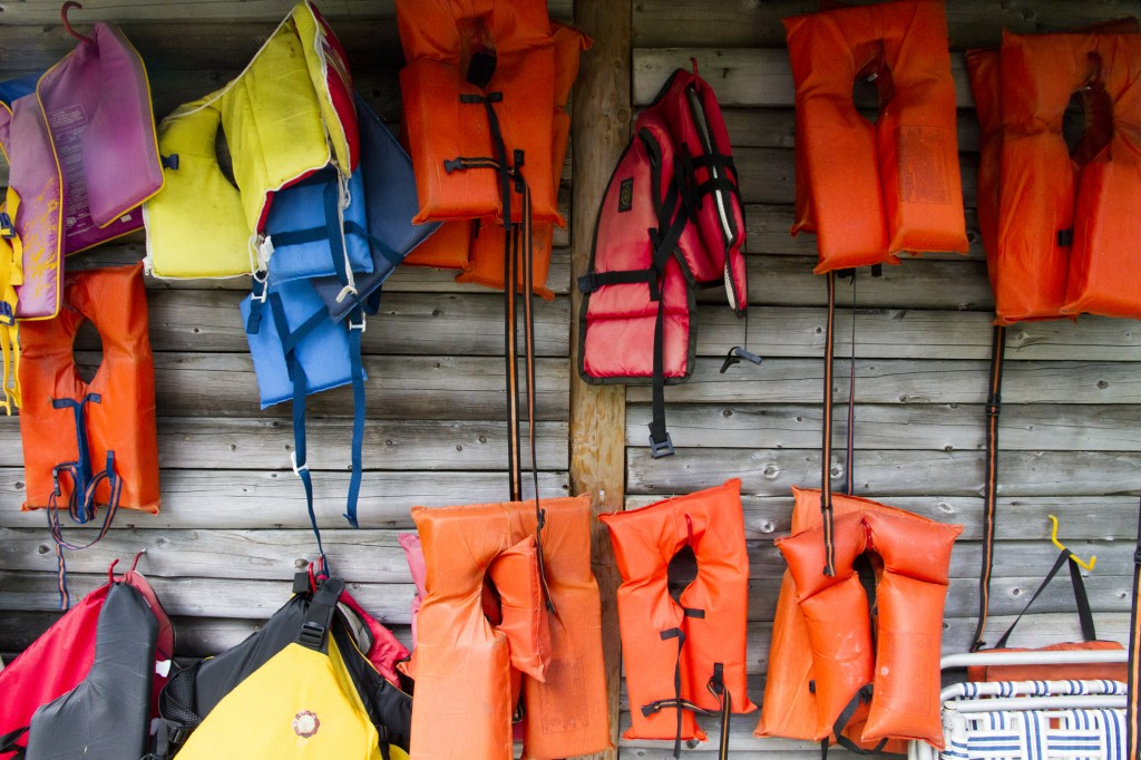 Lifejackets on the side of the main house.