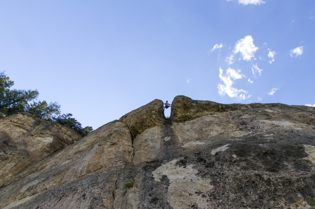 This was the first climb we did at Ten Sleep, Beer Bong (5.10b), a classic pitch that allows you to stem the final chimney facing outward! A nice mix up and a cool first pitch.