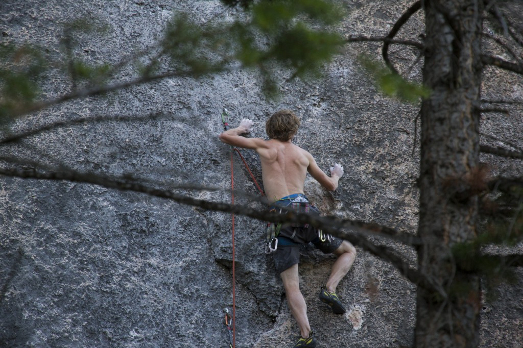 Tip toeing to an onsight of Wyoming Flower Child (5.11d) at the end of a great day.