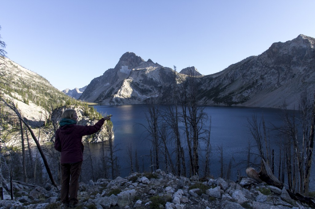 Checking out Sawtooth Lake on our first night as the sun goes down.