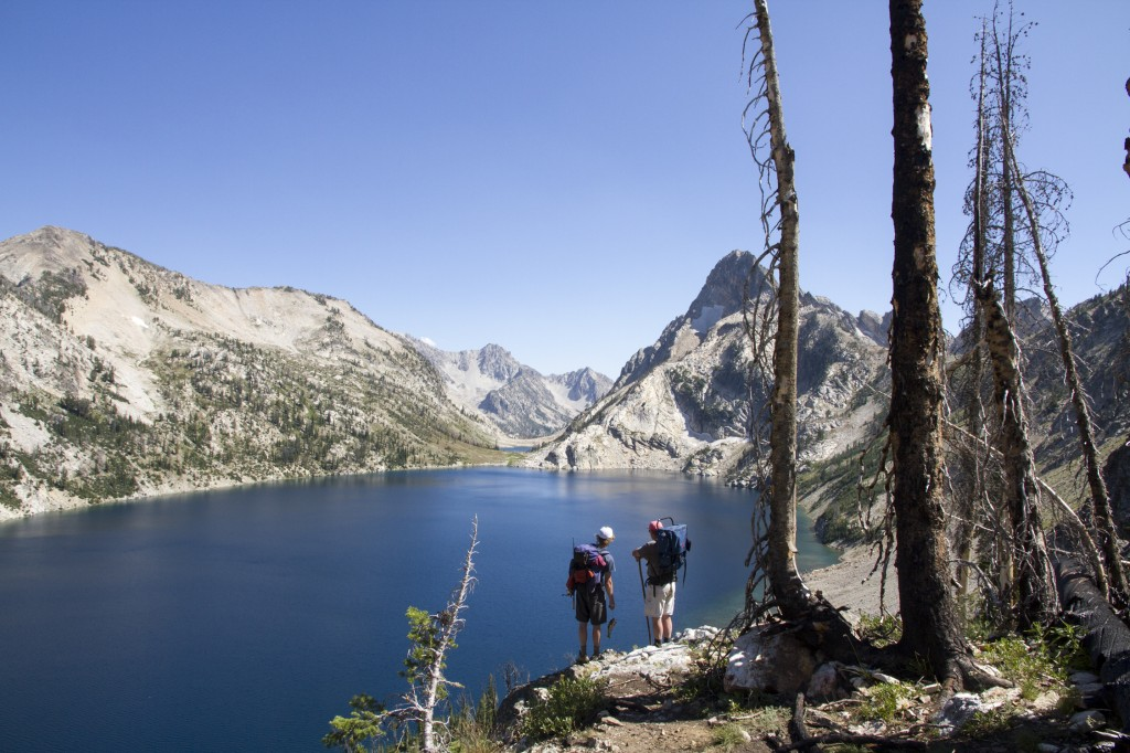 One of my favorite pictures and views. Pops and I enjoying the 2,000 ft vertical relieve around Sawtooth Lake.