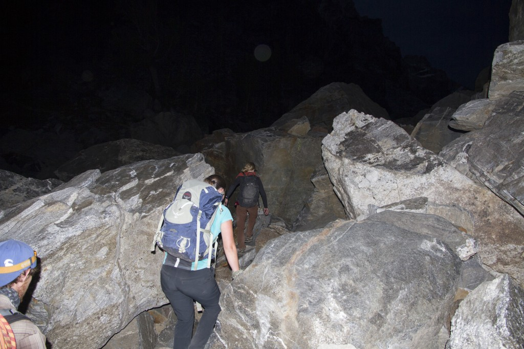 Entering the boulderfields sometime just before sunrise.