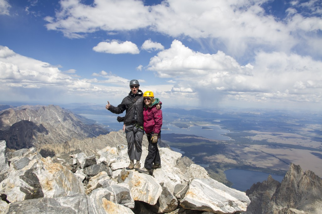Idaho to the left, Wyoming to the right. Summit of the Grand Teton 13,775ft.
