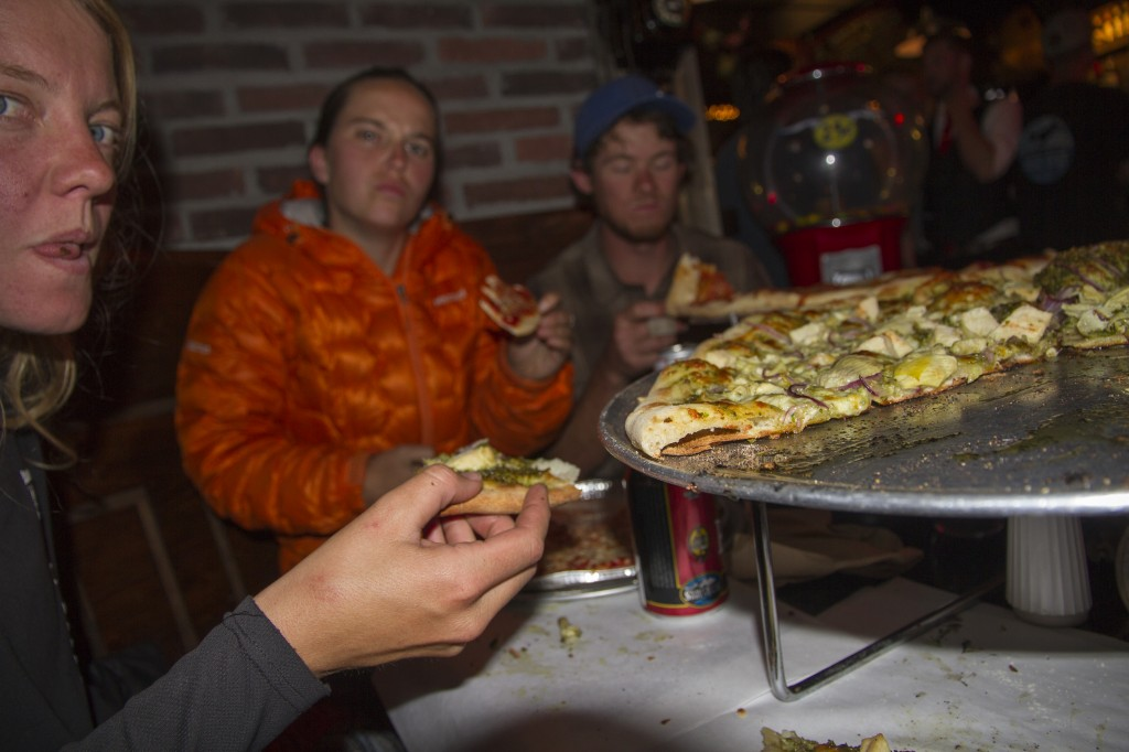 F*****ing CRUSHING pizza at Pinky Gees after an epic hike.