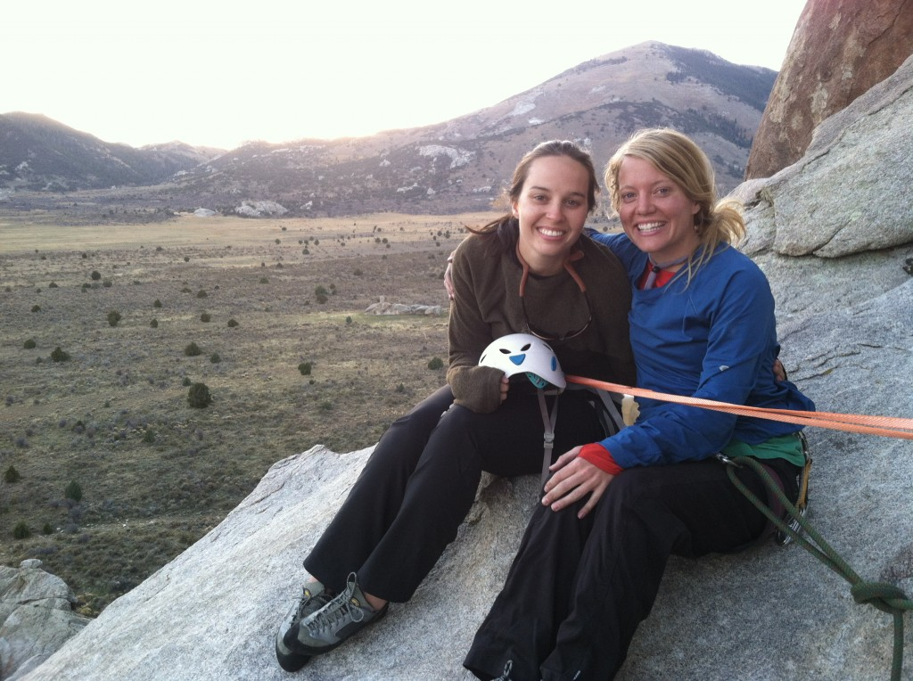 Michele and Robyn sharing a cozy belay ledge.