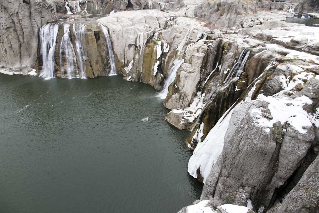 Shoshone Falls in the winter. When climbing at The Prow, you are towering above the falls and the reservoir below.