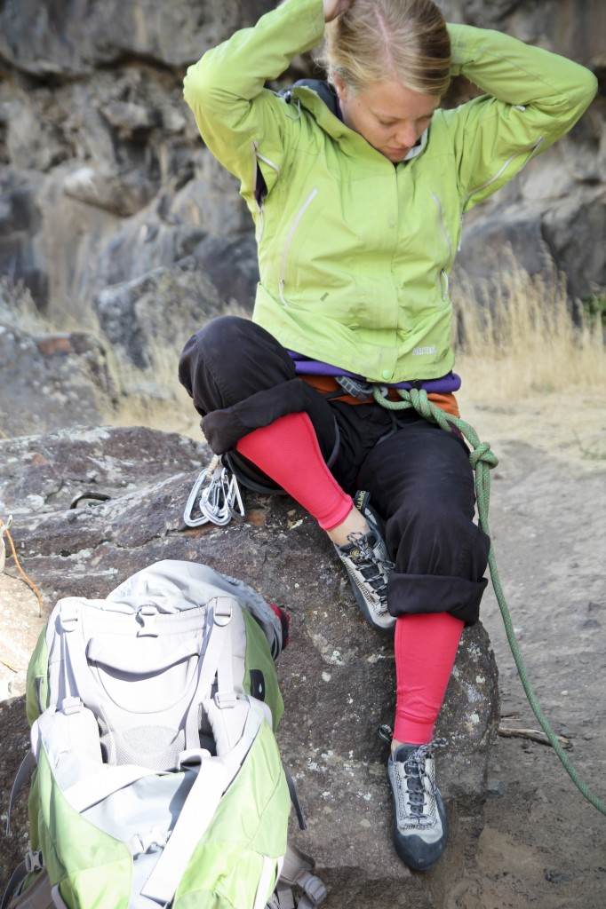 Robyn tied in for some pitches at the Hidden Crag.