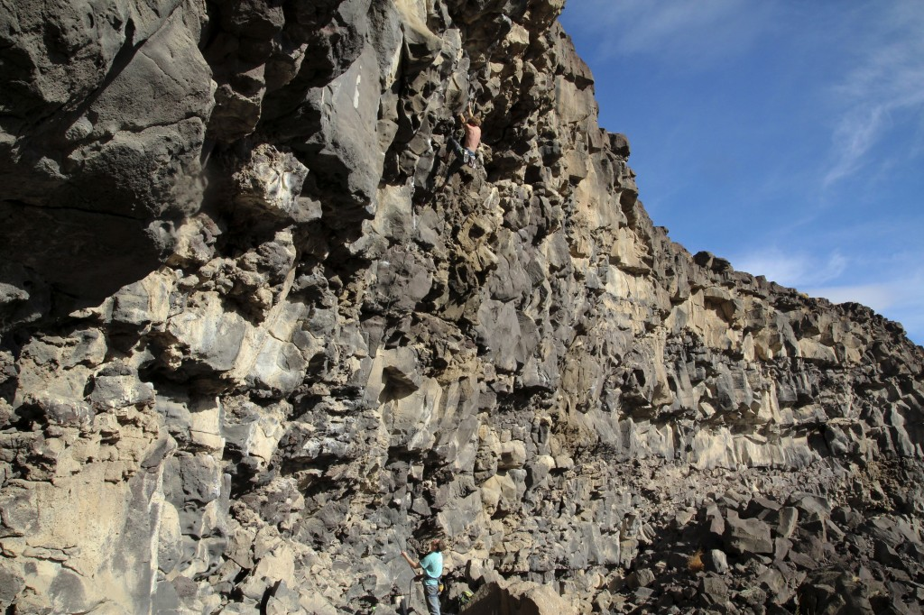 Getting pumped on Black Thing (5.11c) at The Alcove.