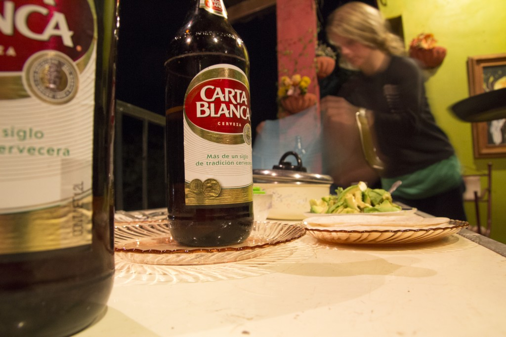 Dinner and Carta Blanca under our outdoor patio. We must have consumed 45 avocados in these two weeks.
