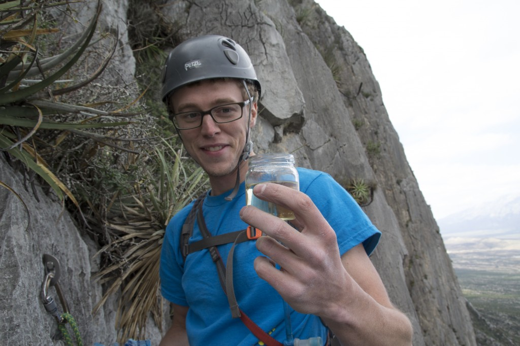We found a little surprise in the summit register at the top of Satori (5.10c, 7 pitches).