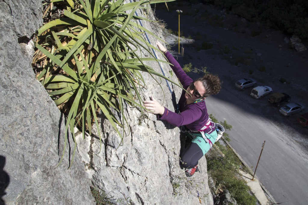 Cora getting wild on a perfect pitch of bullet limestone. It's awesome climbing past funny pokey plants and cactus.