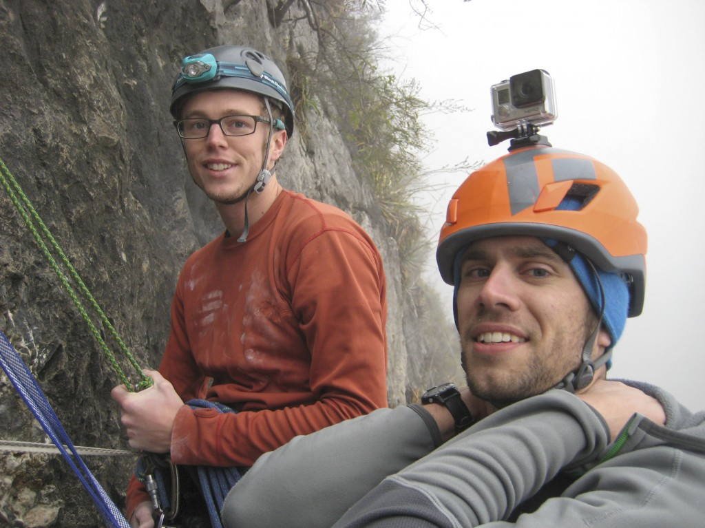 I think this was at the top of the second pitch. Climbing in the fog and over wet cruxes. Stoked it wasn't raining. No idea what we were in store for. Awesome adventure.