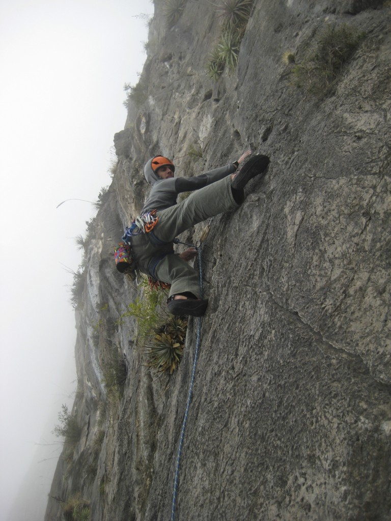 Andy leading on Time Wave Zero (5.12a, 23 pitches). Photo: Steve Dodd