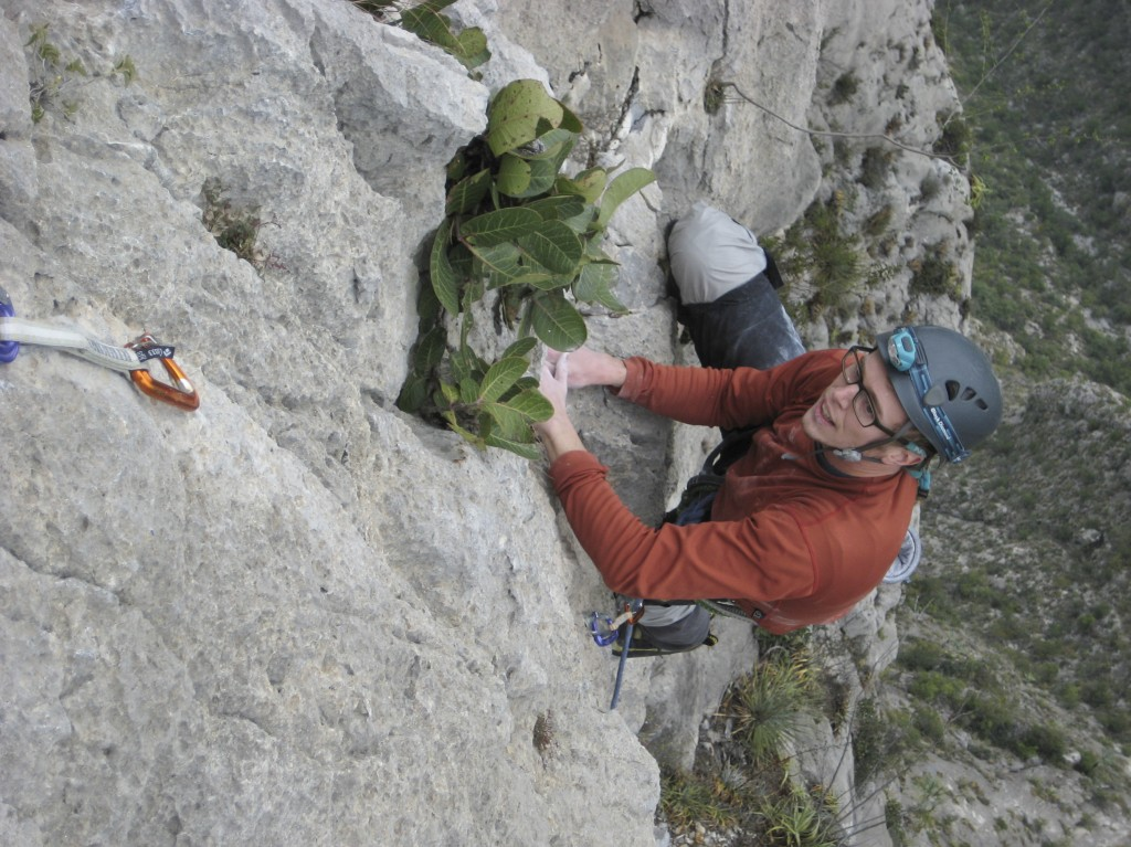 Flashing the upper section of the crux pitch of Time Wave Zero (5.12a). 5.12 is way harder after 21 pitches..