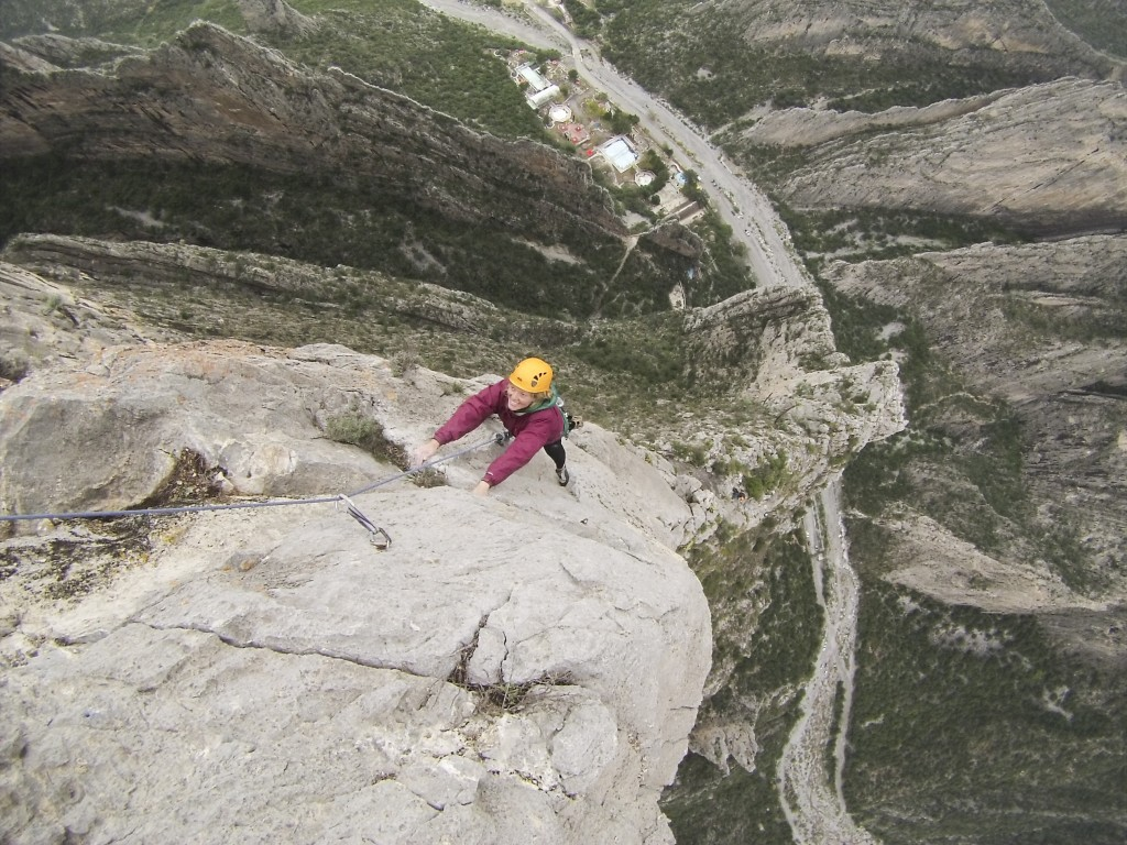 We strung the last 5.10 and 5.12 pitches into one mega-pitch. Possibly one of the best links I have ever climbed. The 5.12 pitch leads to a perfect pinnacle summit.
