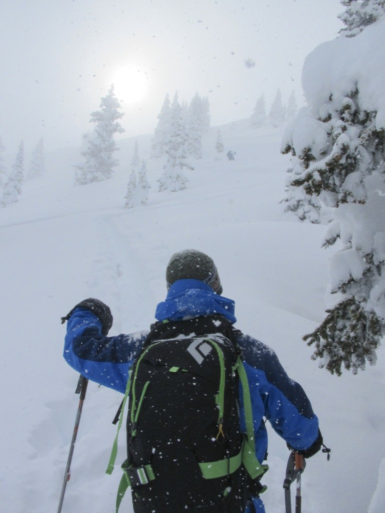 Blase pushing forward as Todd and I hung back in a safe zone near the ridge.