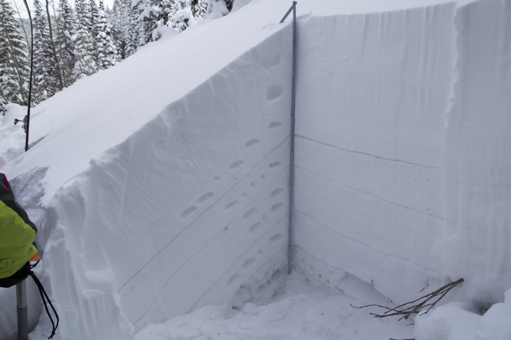 Our snow pit between Twin Chutes. Layers were drawn in for emphasis. Here it was storm snow above the upper line and facets and depth hoar below.
