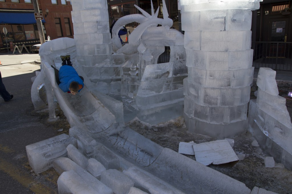 We just happened to be cruising through Cripple Creek during one of their ice festivals. This kid was having a blast on this cool piece of ice art.