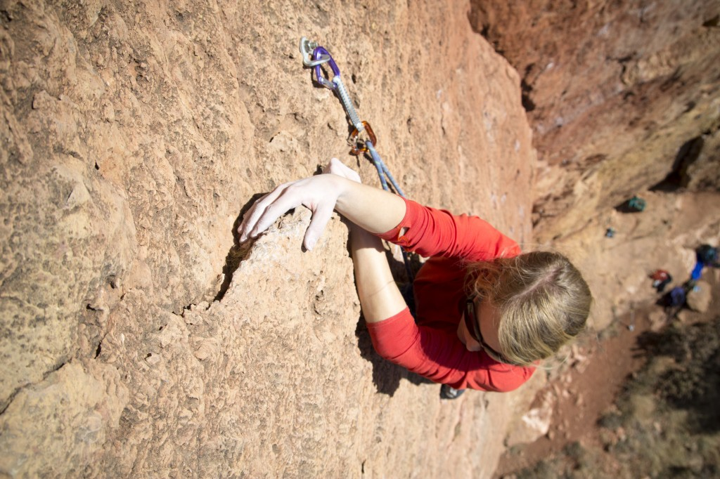 Finally a hold to hang on, Robyn on Third Stage (5.10b).