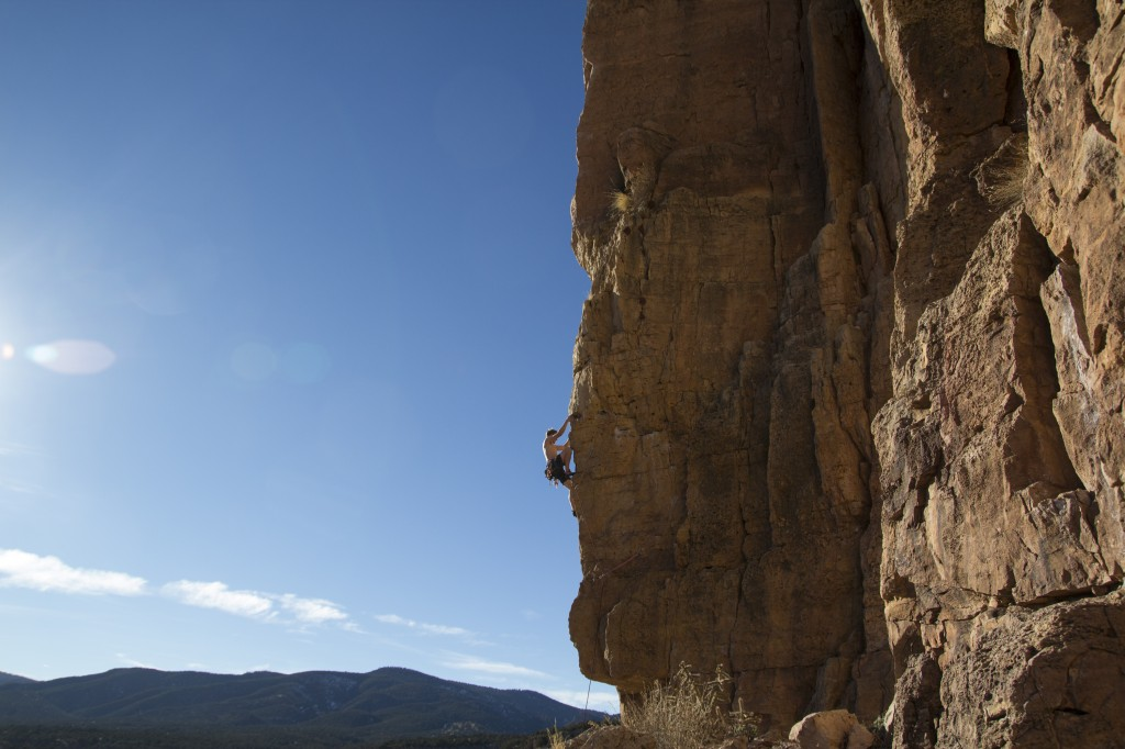 My favorite route of the trip, Funkdamental (5.11a/b). This gem starts on crazy perfect jugs, gains the arete with perfect position and exposure and continues past some long moves to the chains. The perfect temps and golden light helped too.