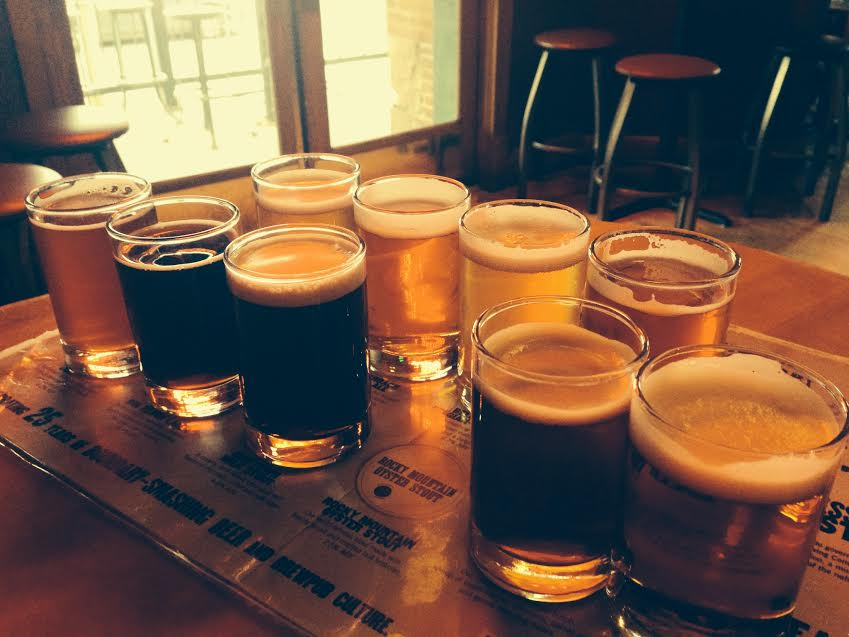 beer sampler at wynkoop. one of our favorite Colorado breweries so far.