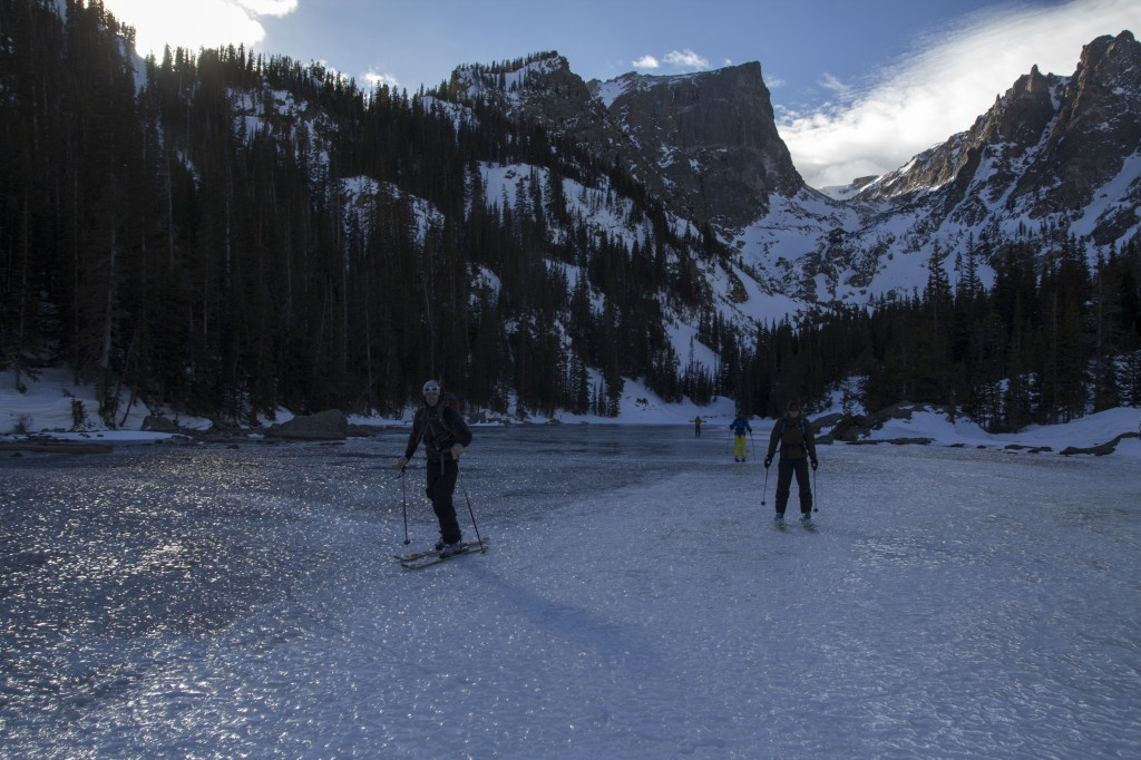 The wind was howling on the way home. Solution? Hope on the frozen lake and sail back to the car. Front Range