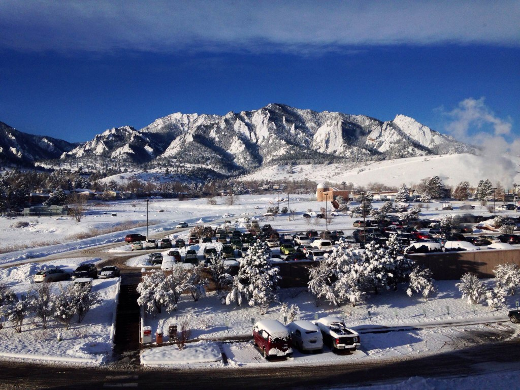 View of the Flatirons from the Boulder office.
