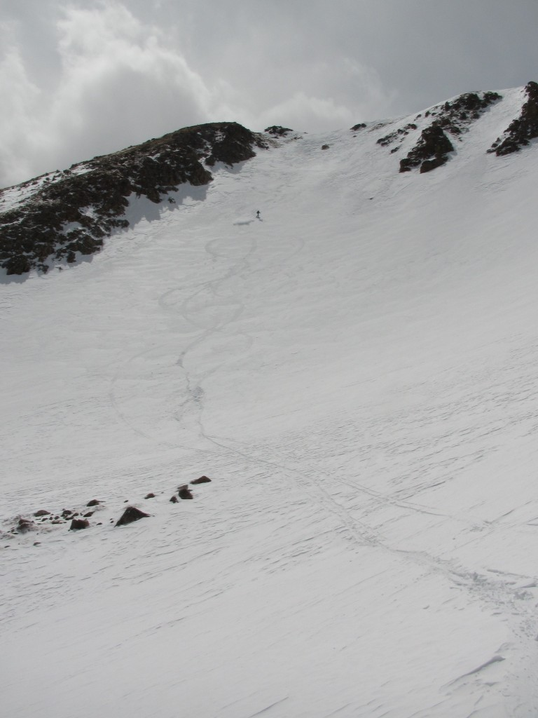Jerrod skiing a cool line in Current Creek Basin. Front Range Zone