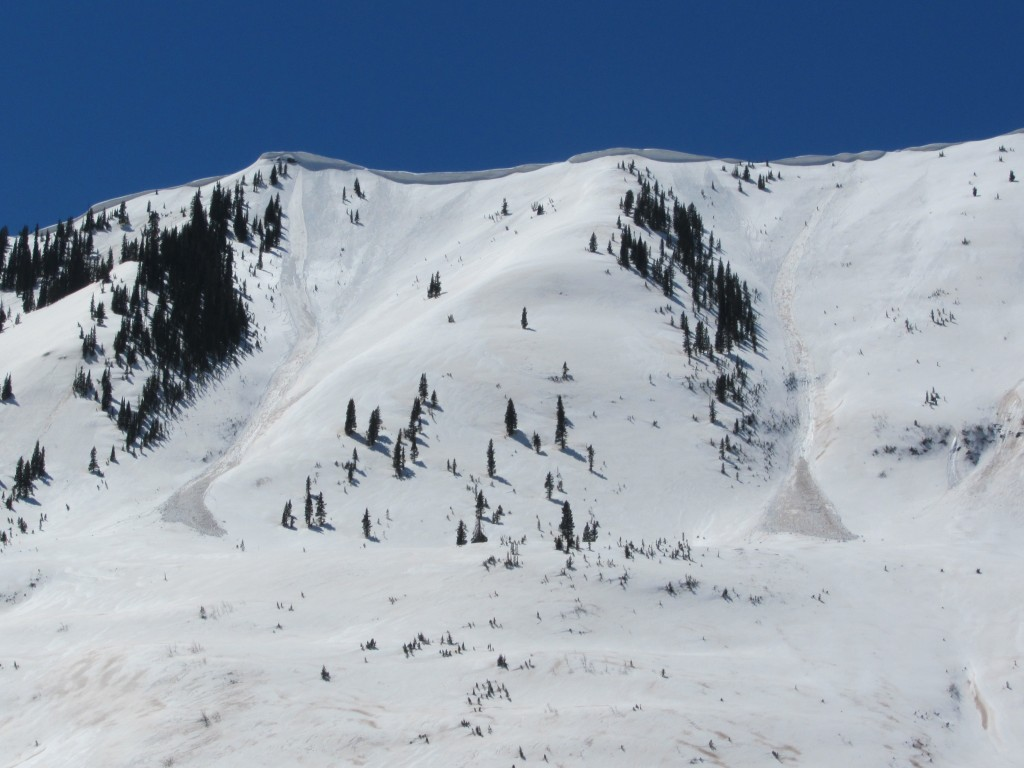 Fresh Loose Wet avalanches on the snowmachine ride back to the car. Gunnison Zone