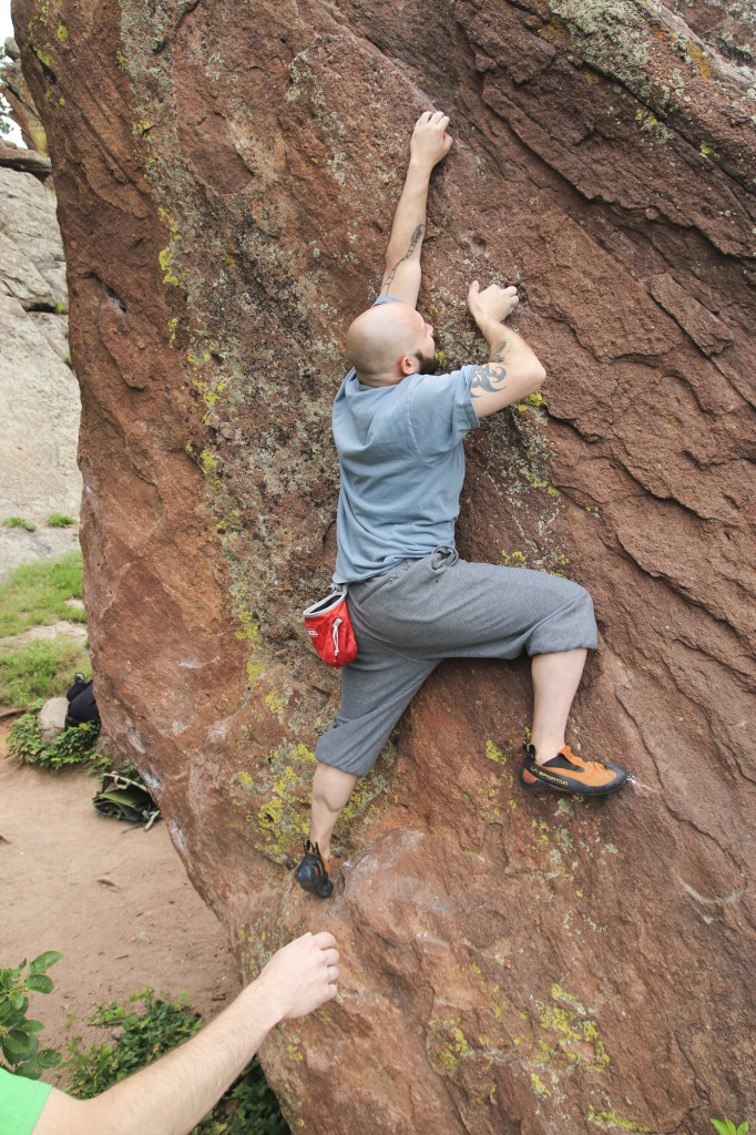 Chris' friend Adam sending a cool boulder at Flagstaff.