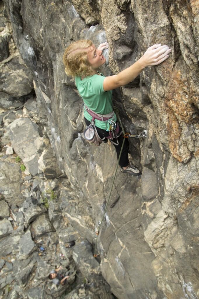 Robyn on Mirthmobile. This is one of the best 5.10's in the canyon.