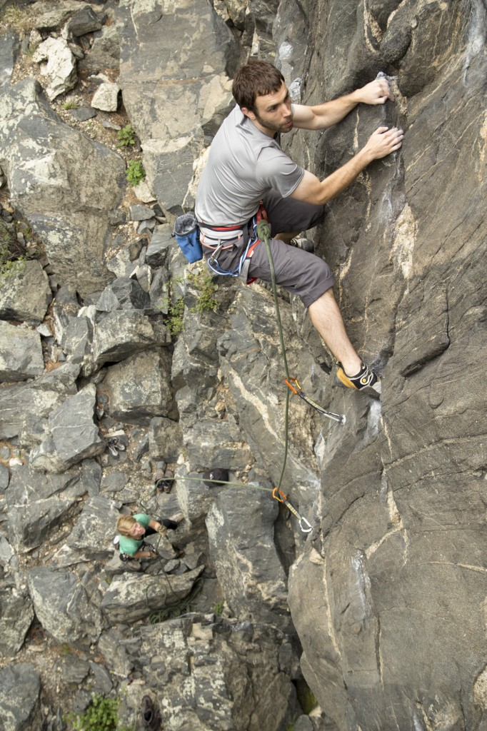 Chris on the 5.10a Mirthmobile at the Primo Wall, Clear Creek Canyon.