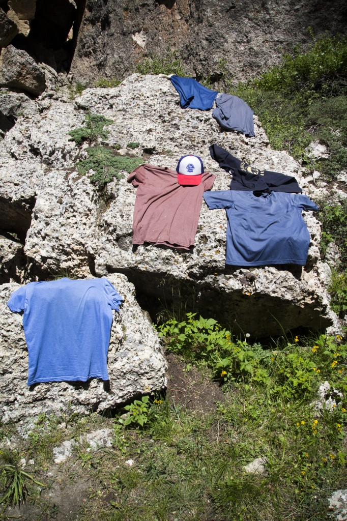 Drying out shirts in the sun after a long hike up to the crag.
