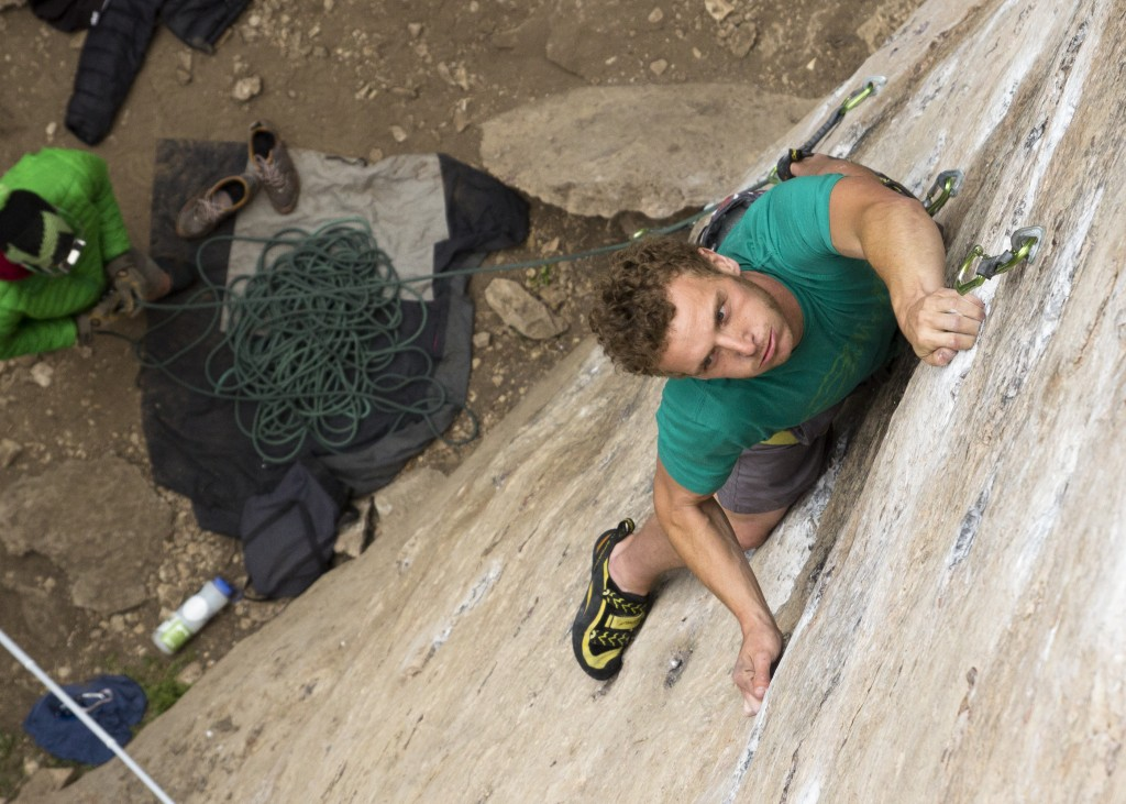Ben eyeing up some low crux moves on The Great White Behemoth (5.12b).