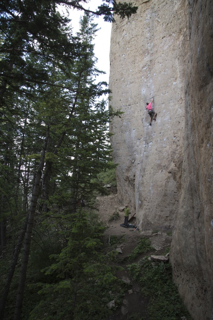 Steve on The Great White Behemoth (5.12b).