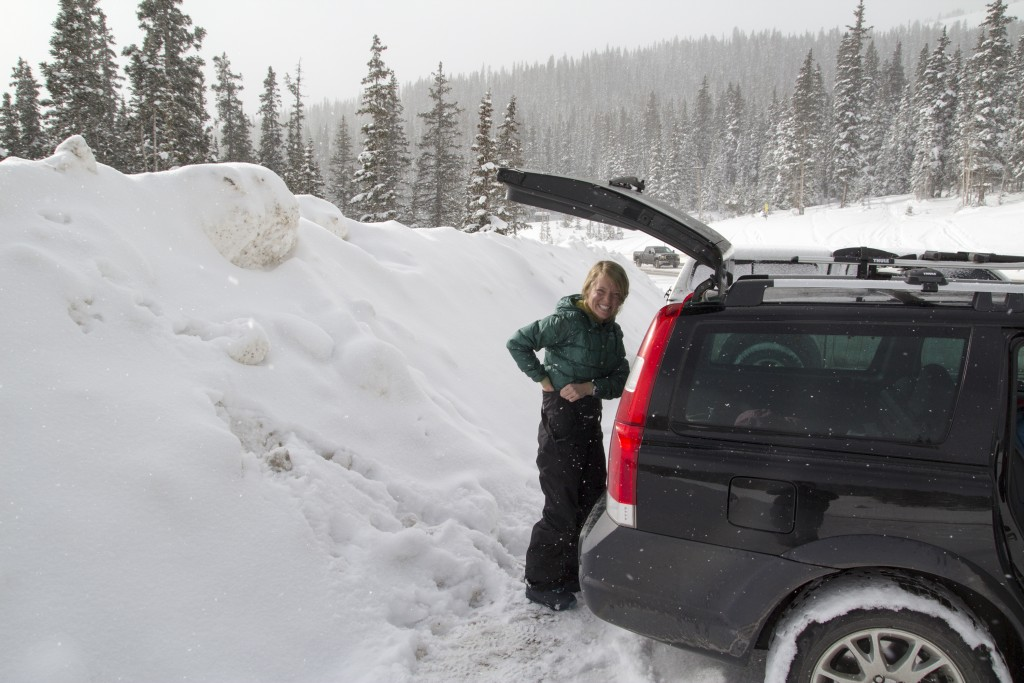 Robyn getting ready to skin up Pumphouse near Berthoud Pass, CO.