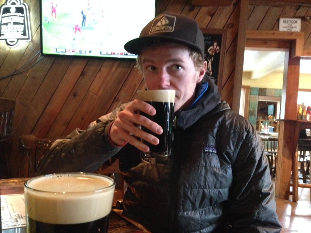 Warming up after a hard day at work. Not many beers can taste as good as a Left Hand Milk Stout on nitro after a day in the snow.