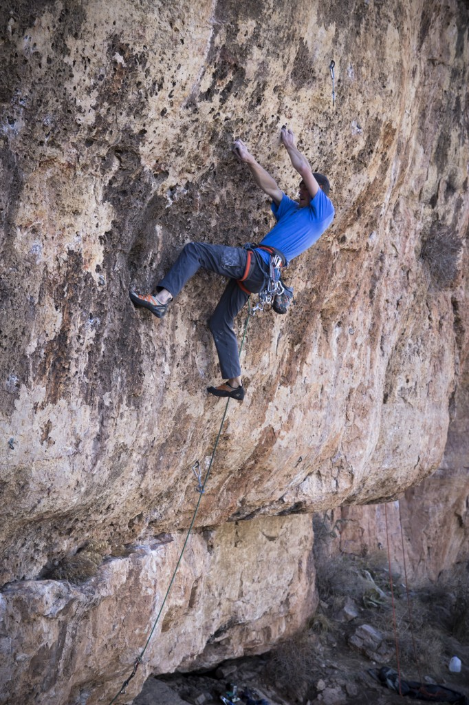 Cool cross move to a rest. My Generation 5.12d - Shelf Road, CO